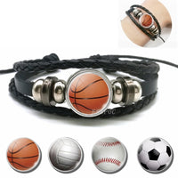 Basketball Charm Leather Bracelet Men Fashion Black weave leather Bracelet Basketball Football Baseball Jewelry Men Gifts - Hobbyvillage