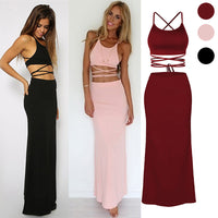 European American Hot Sale Skirts Sexy Club Party Girls Set Short Top with Long Skirts Sexy Lacing Fashion Summer Skirts - Hobbyvillage