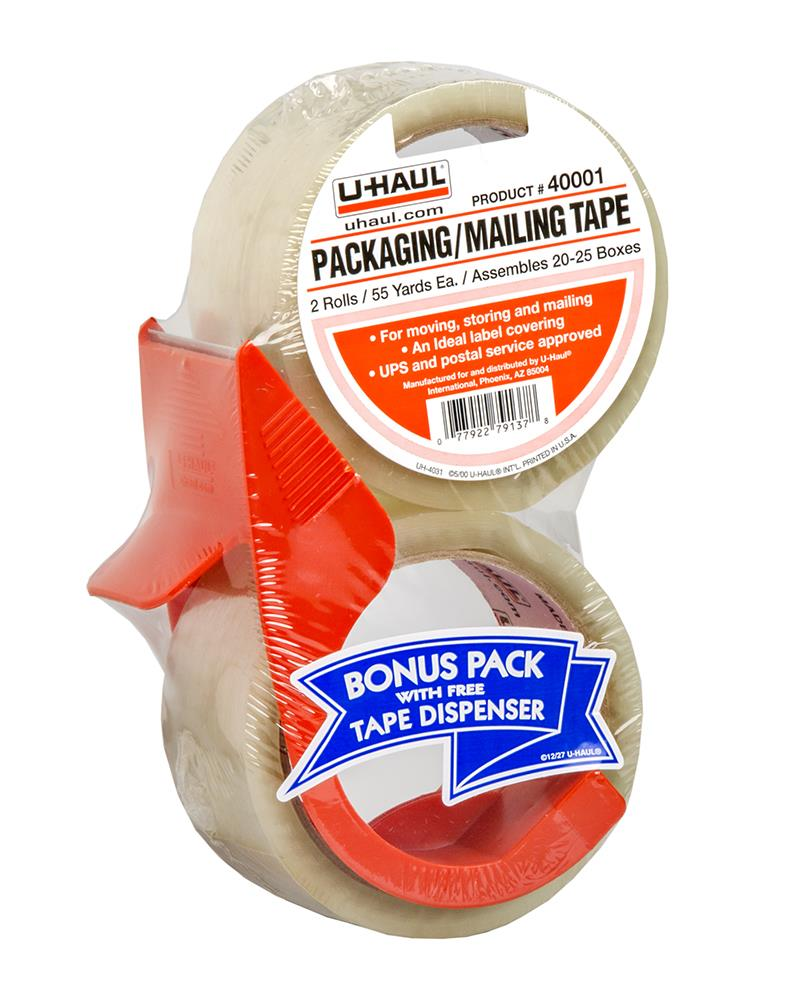 Packaging / Mailing Tape (Two 55 yd. rolls w/ Dispenser)