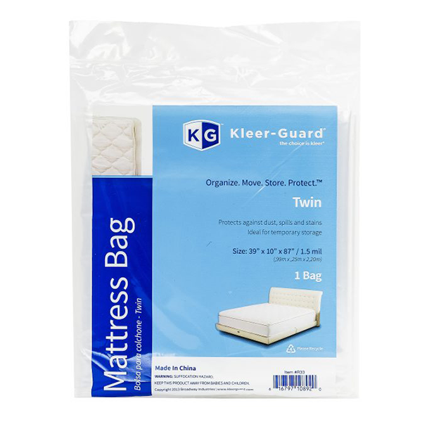Twin Mattress Cover<br>1 Bag.  39″ x 10″ x 87″