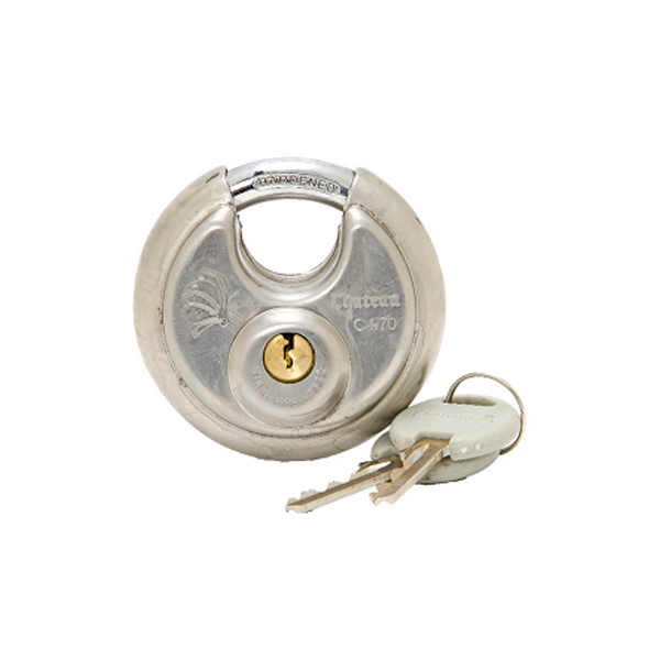 2 3/4″ Disk Lock - Tamper proof and secure. Includes 2 keys.