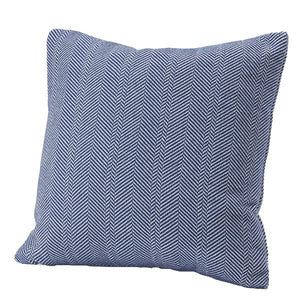 Herringbone Cotton Pillow Cover Deep Blue, 20x20