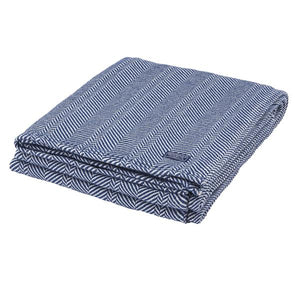Herringbone Cotton Throw Blanket, Midnight Blue
