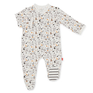 White/Black Cirque Bebe Modal Magnetic Footie