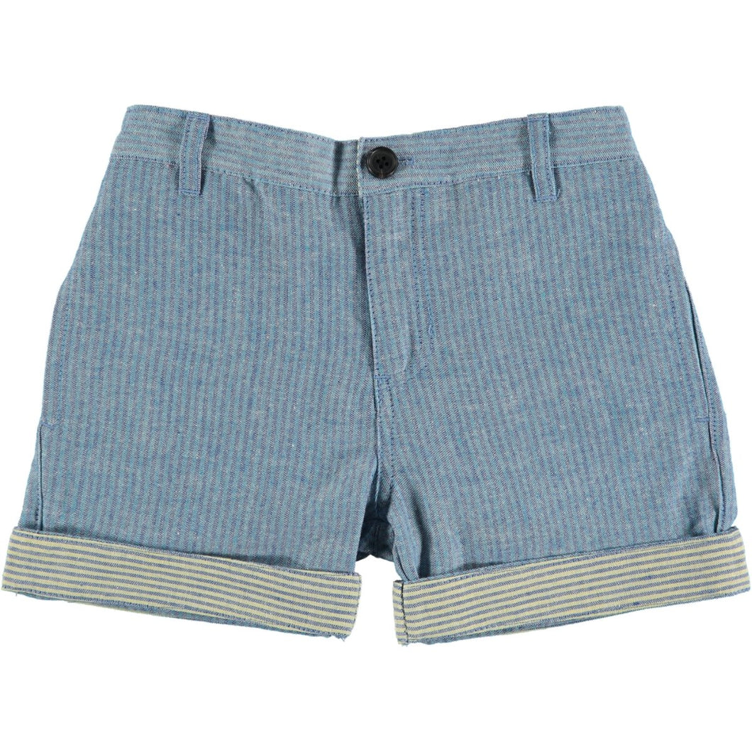 Blue Stripe Turn Up Shorts