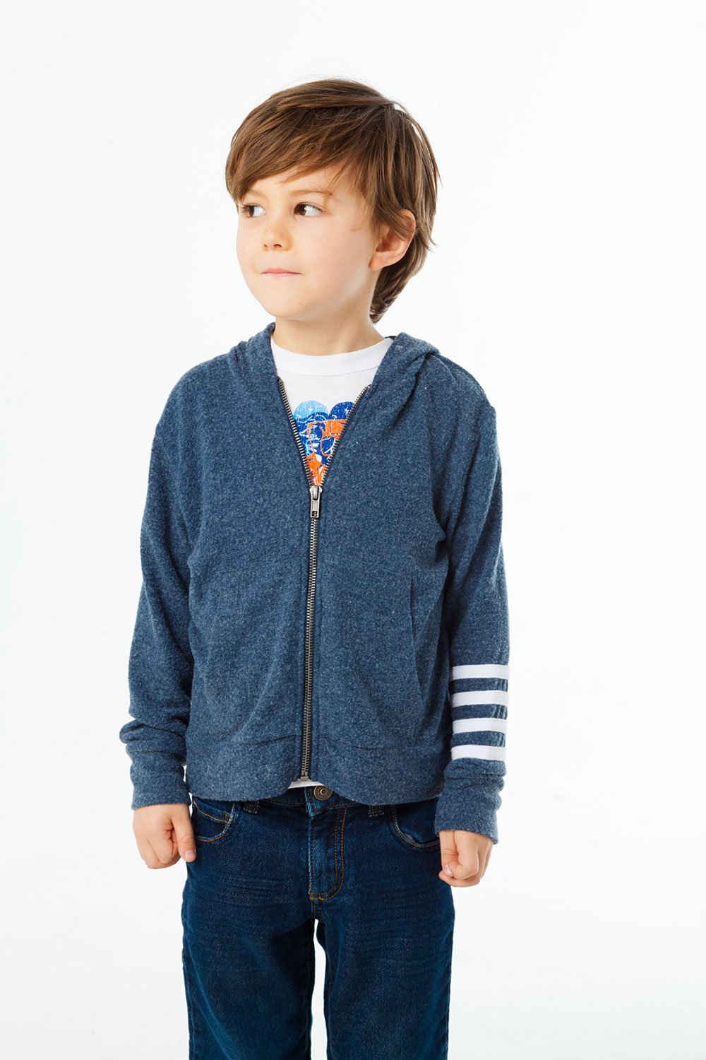 BOYS LOVE KNIT ZIP UP HOODIE W/ STRAPPINGS