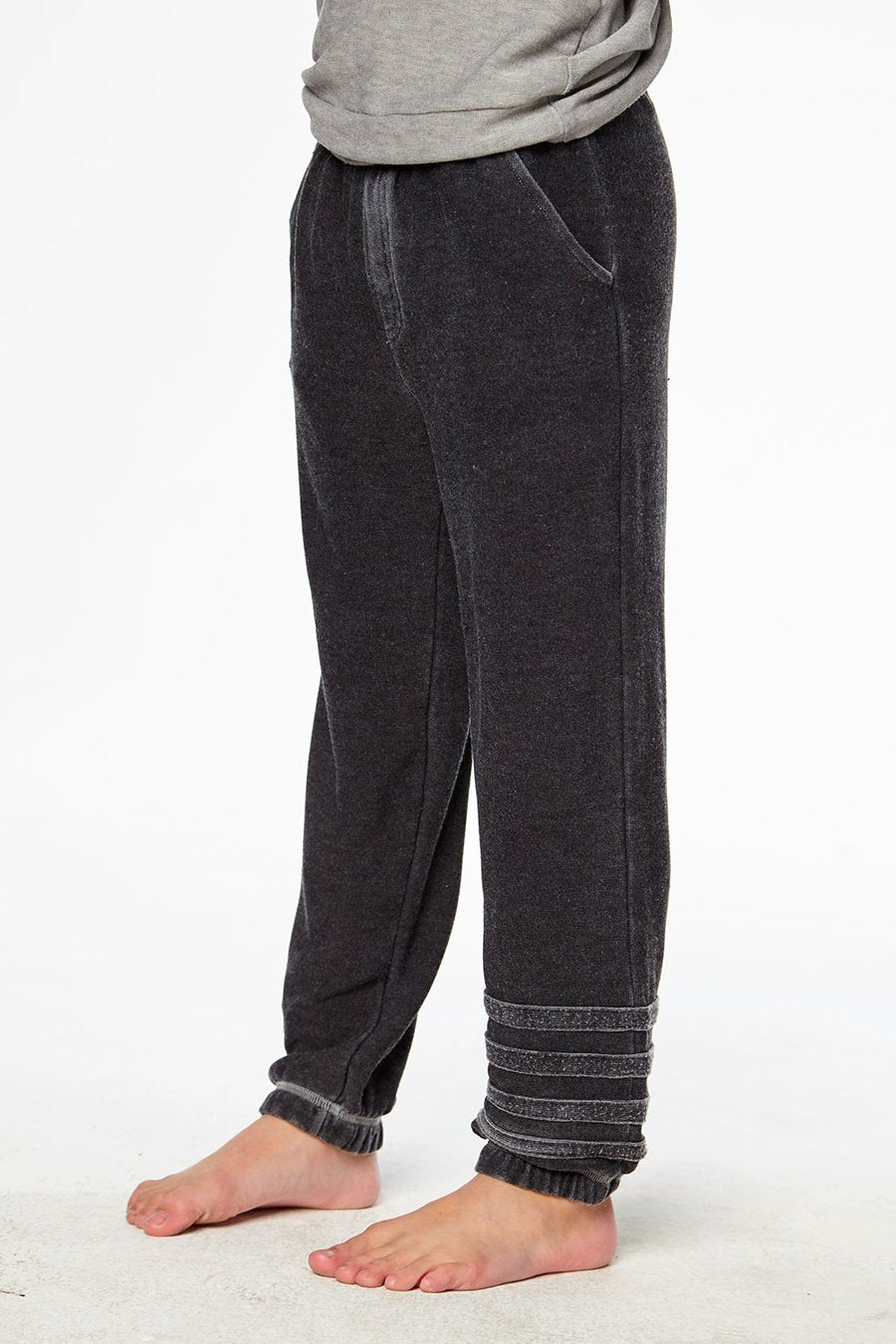 BOYS COZY KNIT JOGGERS W/ STRAPPINGS
