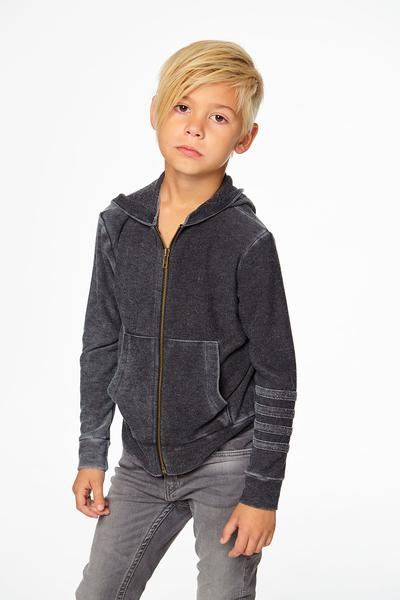 BOYS COZY KNIT L/S ZIP UP HOODIE W/ STRAPPINGS