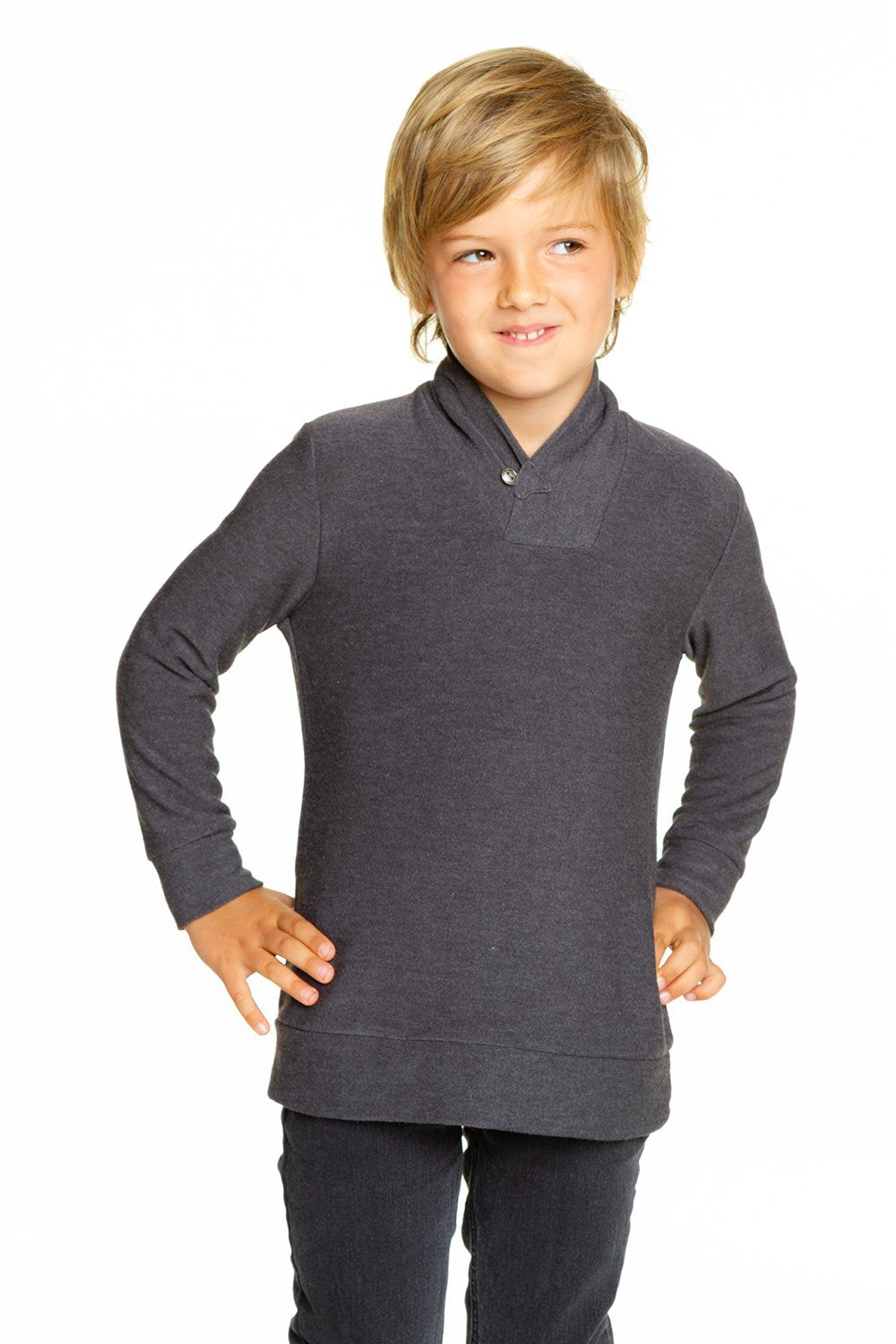 BOYS COZY KNIT LONG SLEEVE SHAWL COLLAR PULLOVER