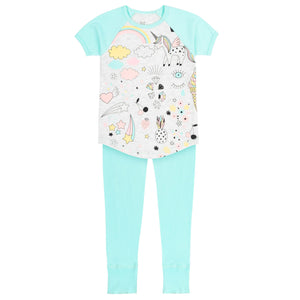 TURQUOISE & GREY MIX PAJAMA SET WITH UNICORN PRINT & SOLID PANT, GIRL