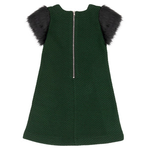 GREEN & BLACK DRESS WITH FURY SLEEVES