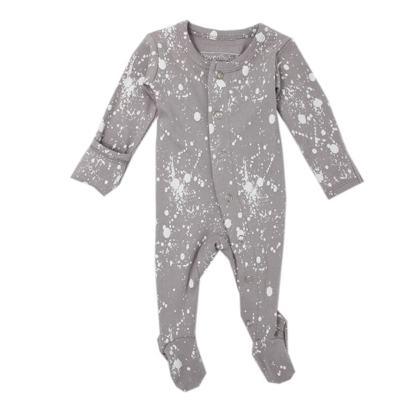 Splatter Footed Overall-gray