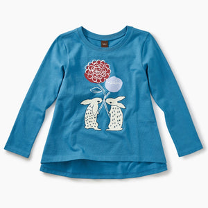 Floral Rabbits Twirl Top