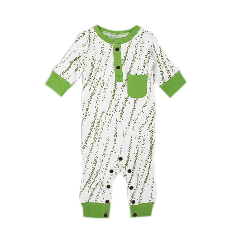 Organic Footless Romper- Moss Willow