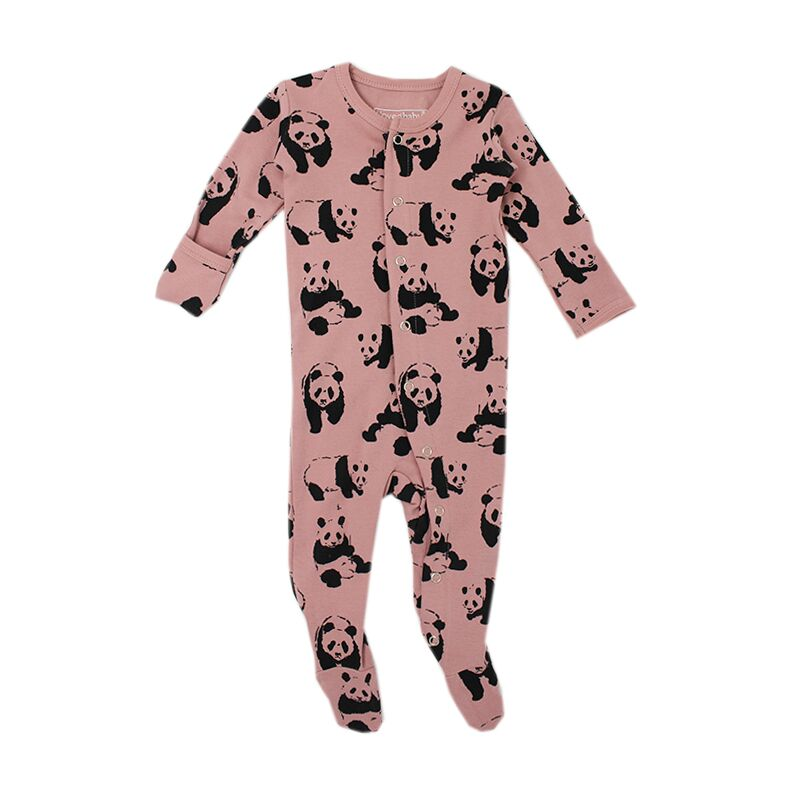 Panda Printed Footed Overall- Mauve