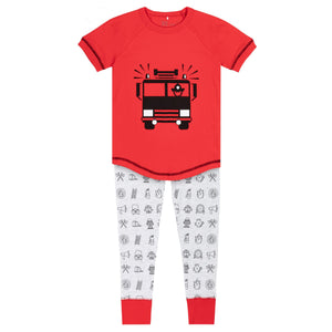 RED & GREY MIX PAJAMA SET WITH FIREMAN ACCESSORIES PRINTED, BOY