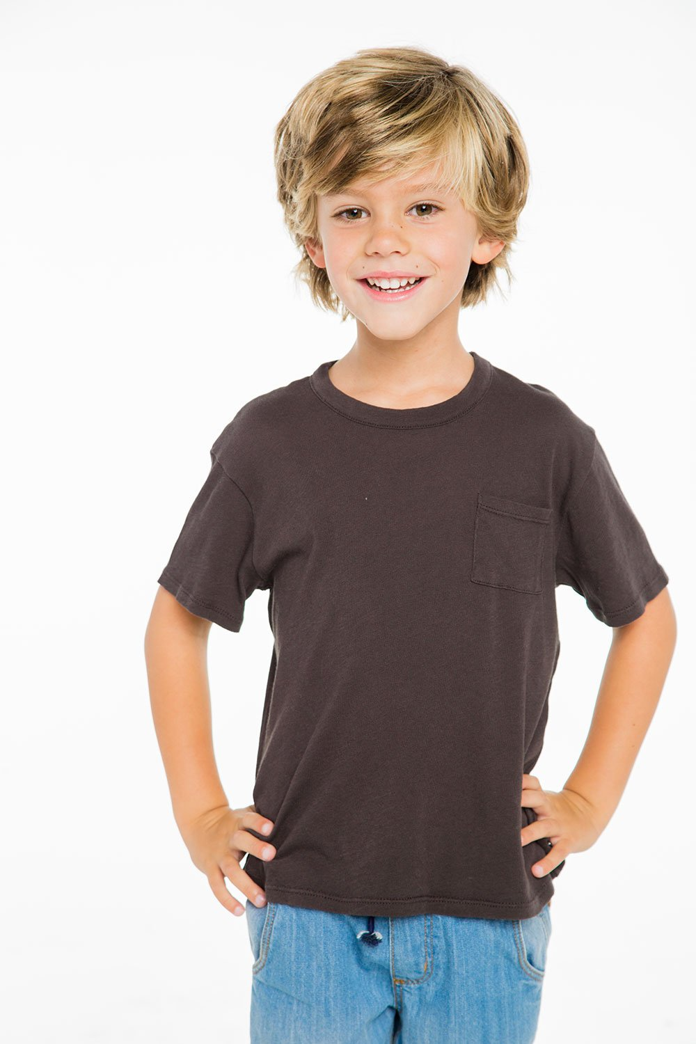 BOYS COTTON JERSEY S/S BASIC TEE W/ POCKET
