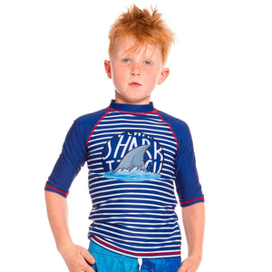 BLUE STRIPED AND SHARK PRINT 3/4 SLEEVE RASHGUARD