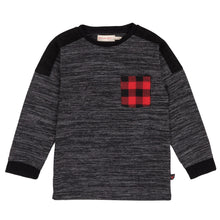 DARK GREY LONG SLEEVE T-SHIRT WITH PLAID POCKET