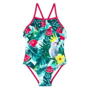 EXOTIC COCKATOO PRINTED 1 PC SWIMSUIT, GIRL
