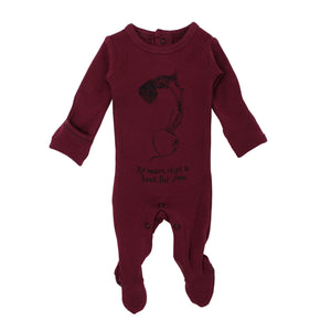 Organic Graphic Footie in Cranberry Beet