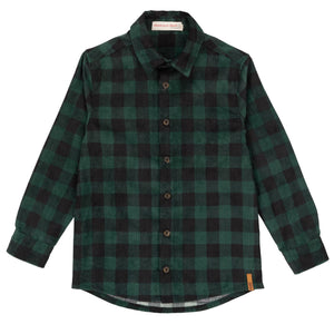 BLACK & FOREST GREEN PLAID SOFT CORDUROY T-SHIRT