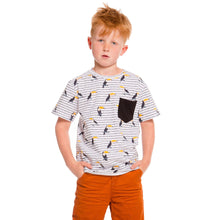 BLACK & WHITE STRIPED T-SHIRT PRINTED WITH TOUCAN, BOY