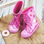 Pink Star Lace Up Wellington Boots
