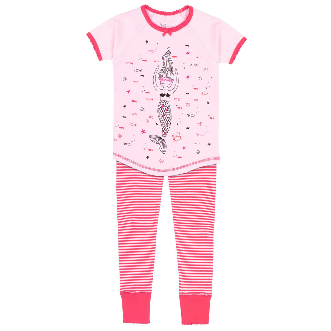 PINK PAJAMA SET WITH MERMAID PRINTED ON TOP & STRIPED PANT, GIRL