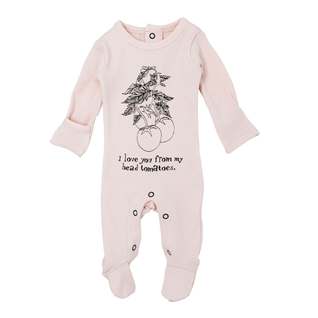 Organic Graphic Footie in Blush Tomato