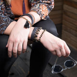 model wearing Tiana thin black leather wrap bracelet- Amy Margaret