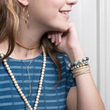 model wearing tiana thin taupe leather wrap bracelet- Amy Margaret