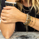 Brass and Stone Convertible Wrap Bracelet or Necklace - Amy Margaret