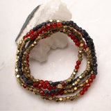 Mix Metal Hex and Stone Stretch Wrap Bracelets - Carnelian