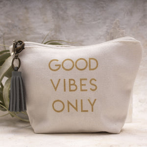 Good Vibes Only Canvas Bag- Aquamarine Tassel- Amy Margaret