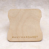 back view- Amy Margaret reusable wood chip card for jewelry wraps