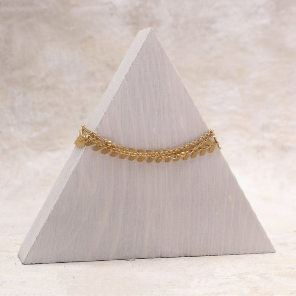 Harper Chevron Mulit Chain Bracelet in Matte Gold - Amy Margaret