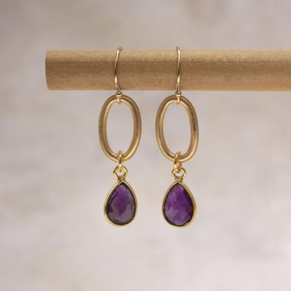 Taylor Teardrop Earrings in Amethyst- Amy Margaret