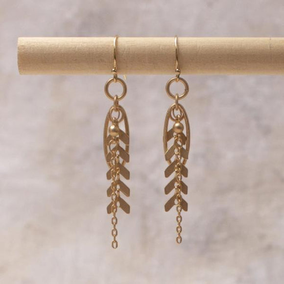 Harper multi chain earring in matte gold- Amy Margaret