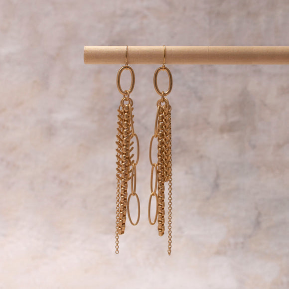 Cobain Fishbone Multi Chain Earring