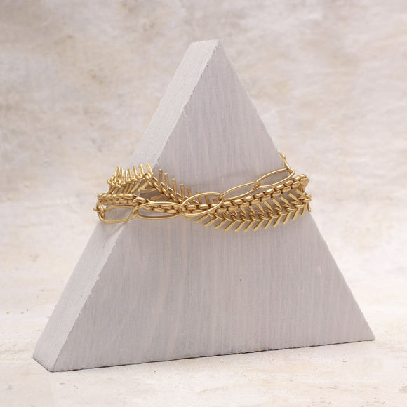 Fishbone Chain Bracelet in Matte Gold - Amy Margaret