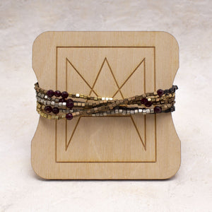 Metal Cube and Stone Convertible Wrap Bracelet or Necklace - Amy Margaret