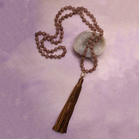 Shania Stone and Leather Tassel Necklace - Amy Margaret