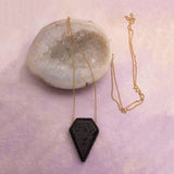 Geometric Lava Stone Pendant Necklace