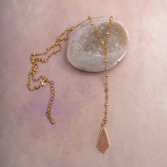 Hawthorn druzy pendant Y Necklace in matte gold- Amy Margaret