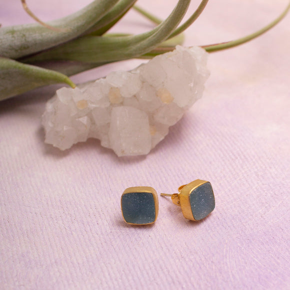 Teal Druzy Stud Earrings- Amy Margaret