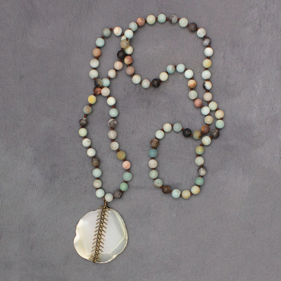 Agate Slice & Amazonite Knotted Stone Necklace