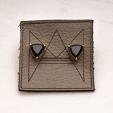 Black Onyx/Gold Gemstone Triangle Stud Earrings - Amy Margaret