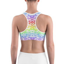 Woman's Rainbow Fleur De Lis Graphic Sports bra - Athletic Inspirations Apparel