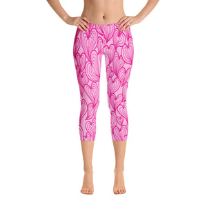 Woman's Pink Hearts Graphic Capri Leggings - Athletic Inspirations Apparel